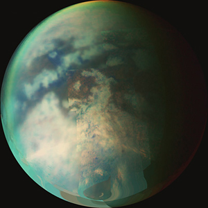 A composite image showing Titan's surface and atmosphere. Image: NASA/JPL/University of Arizona