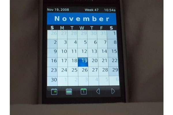 blackberry storm clear calendar