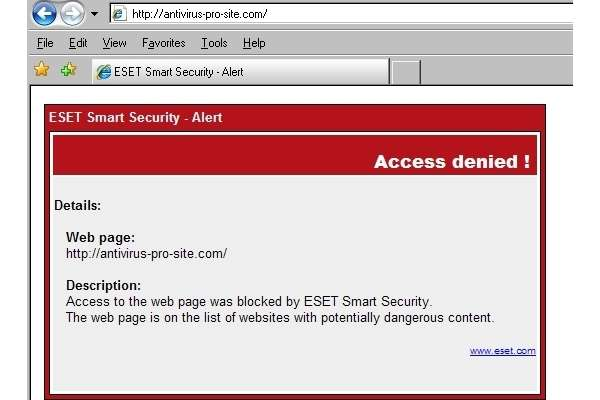 ESET completely blocks access to rogue AV site.