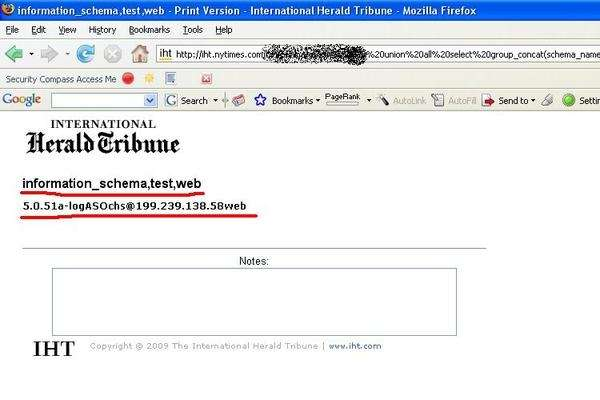 Сайт iht.nytimes.com, взломан через SQL-инъекций.