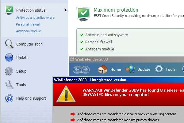 WinDefender 2009 running with ESET Smart Security v3.0