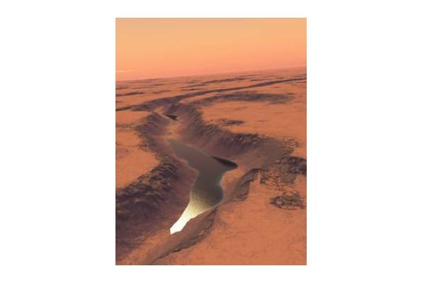 Img: Martian lake (impression). Credit: Gaetano Di Achille/University of Colorado