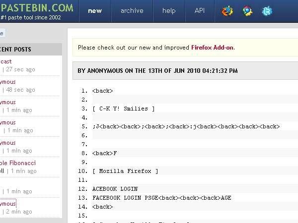Pastebin como repositorio de logs de keyloggers ~ Security By Default