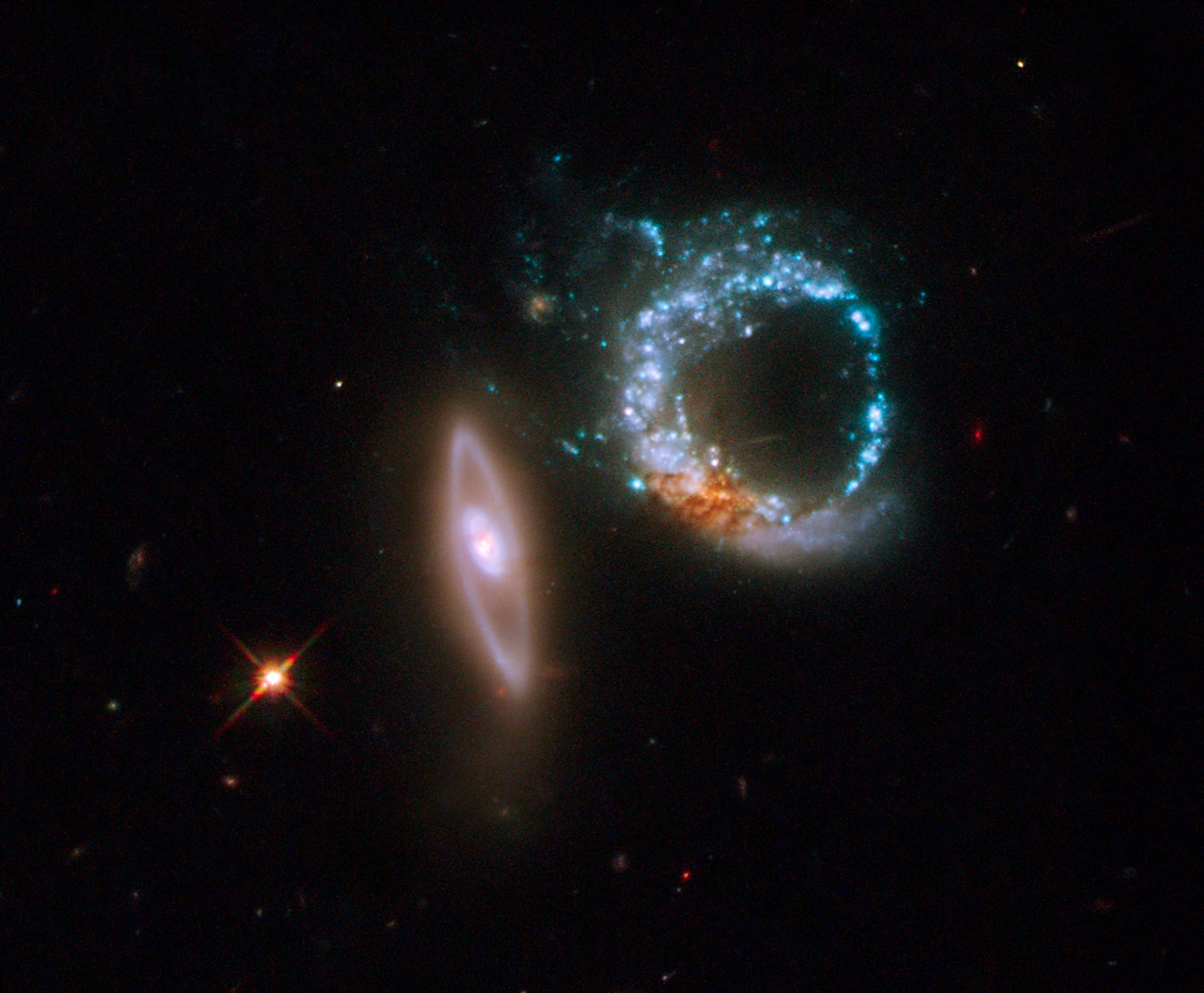 Colliding galaxies.