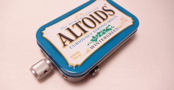 The completed Altoids mint tin headphone amp after all the hard work
