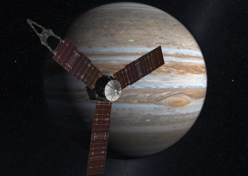 An artist's impression of Juno orbiting Jupiter