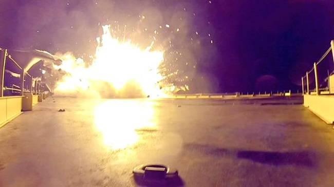 The rocket explodes