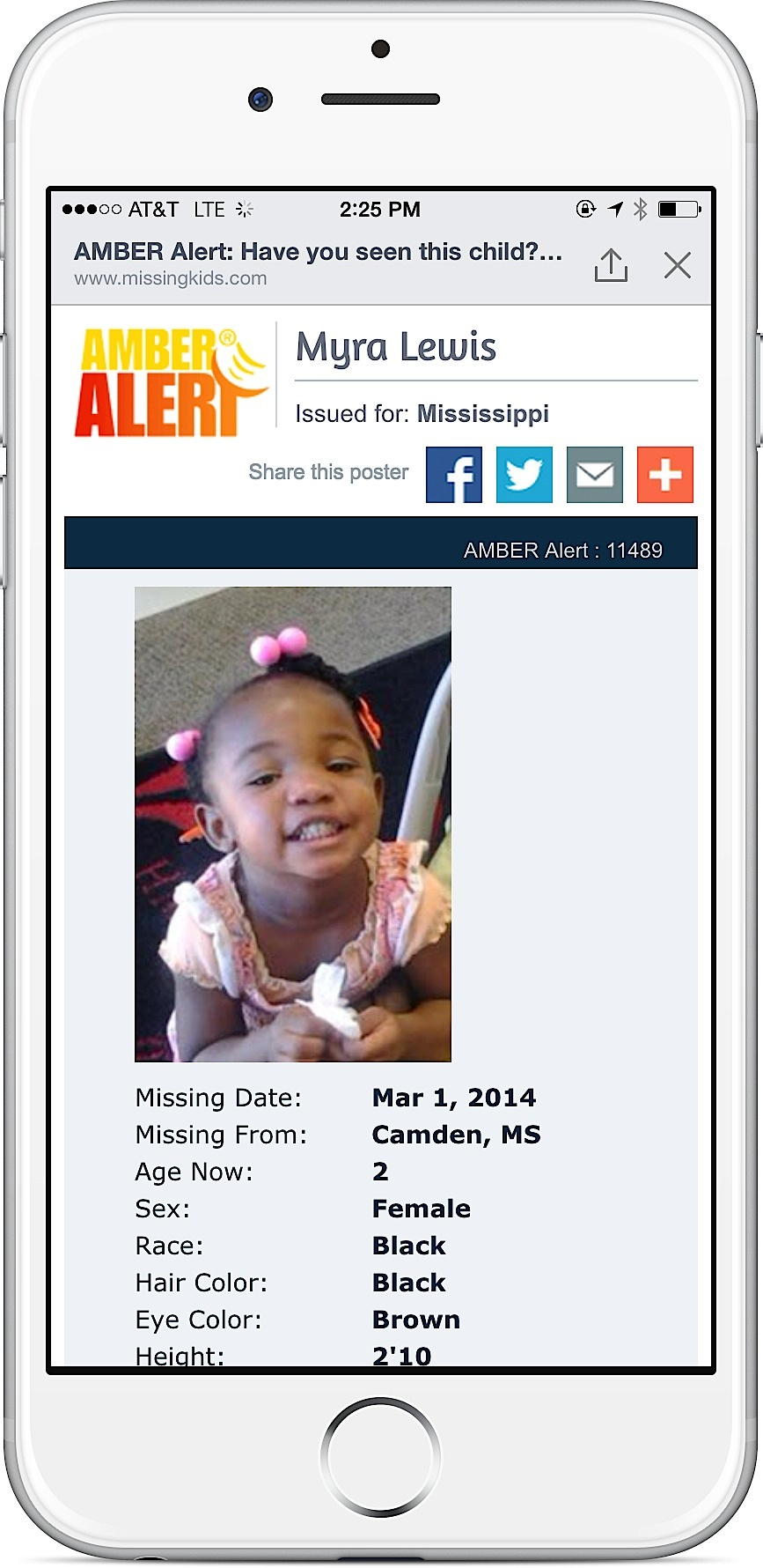 Details of the missing child will be shown in a poster that can be shared.