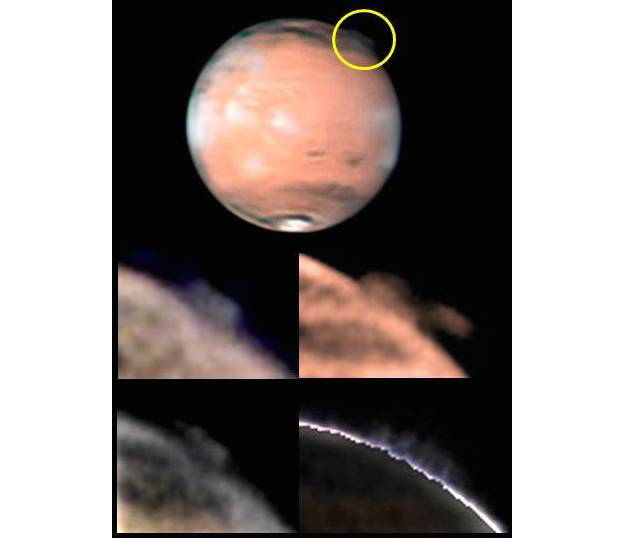 High altitude plumes seen over Mars