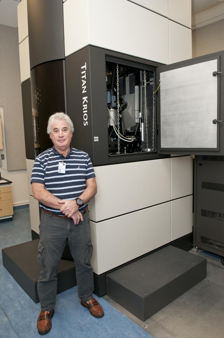 Edward H. Egelman, Ph.D., and UVA's Titan Krios microscope.