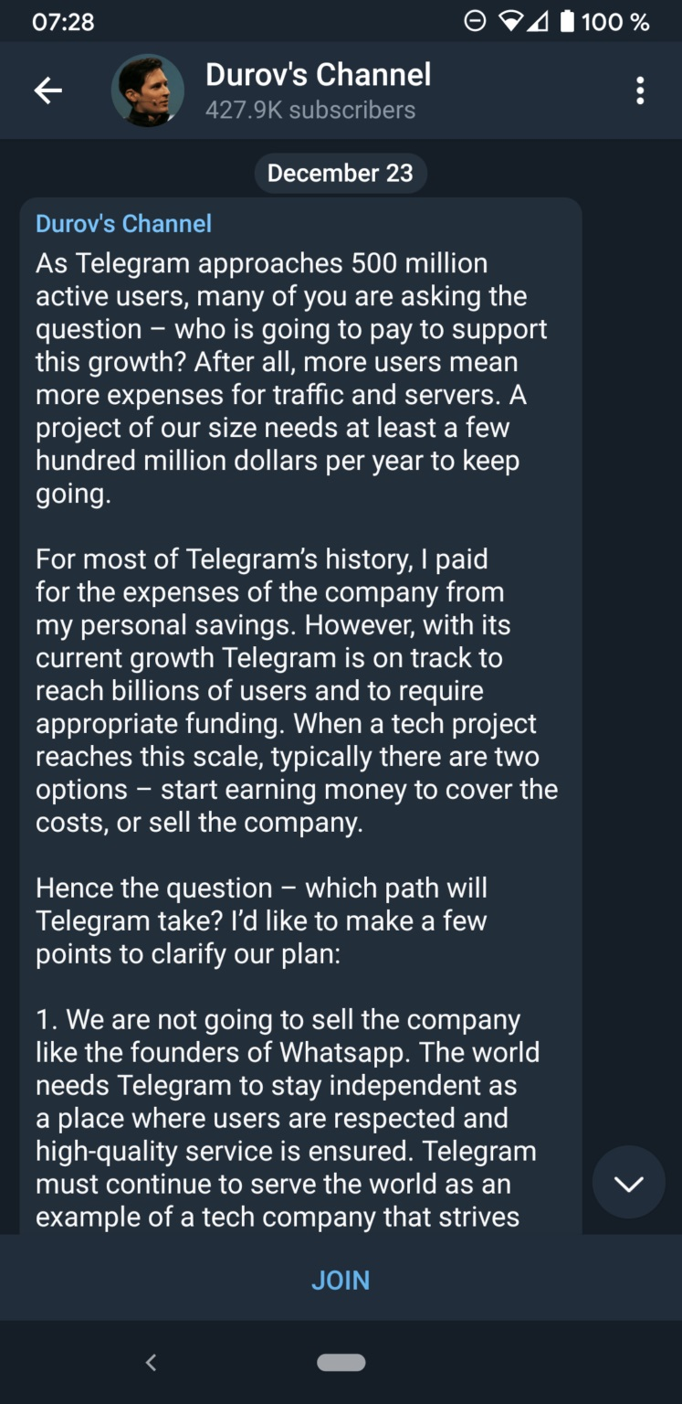 Telegram Ads Message