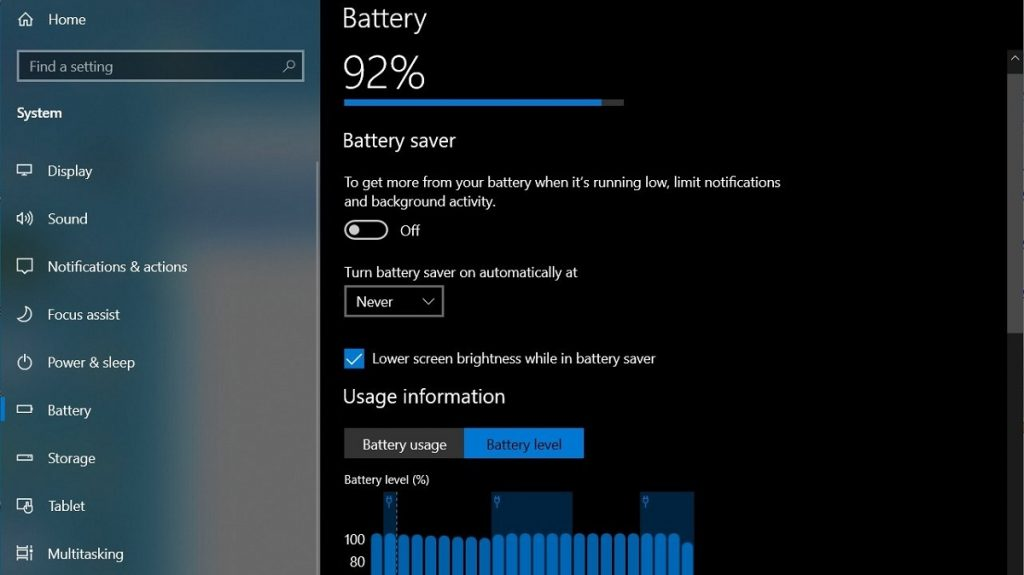 Windows 10 Battery Settings Page