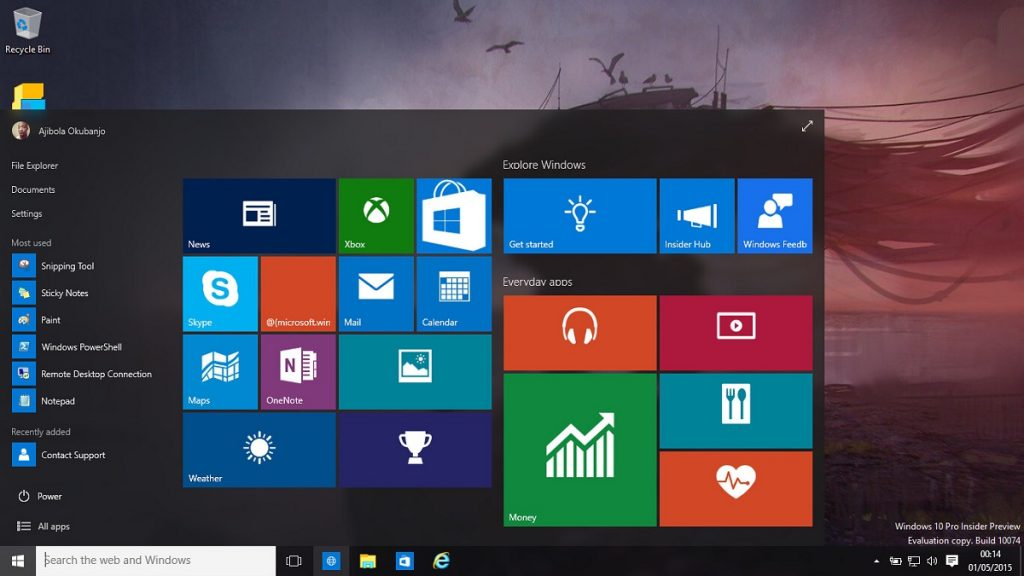 Windows 10 Start Menu Taskbar