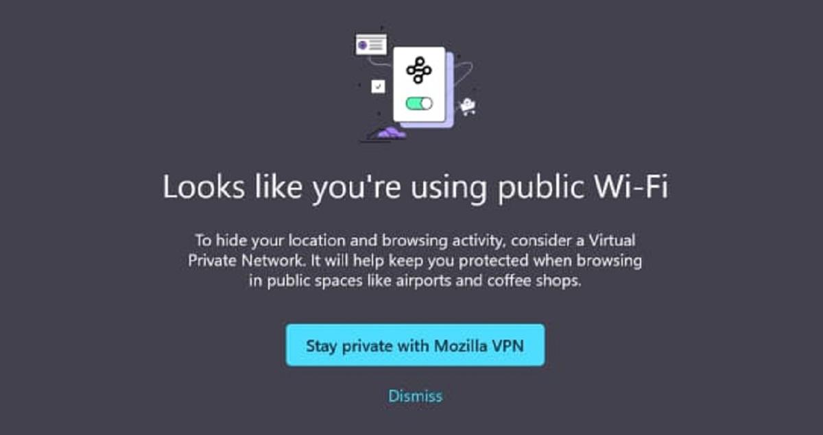 Firefox Mozilla VPN promo Public Wi-Fi users